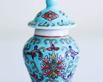 Vintage Chinese Blue and Rose Red Ginger Jar