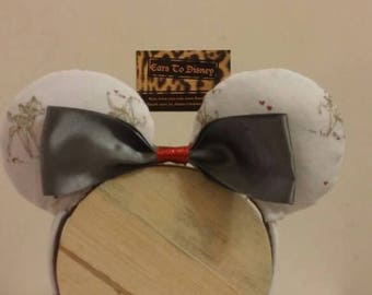 Summer Sale Bambi inspired mickey ears with grey bow and a pocket