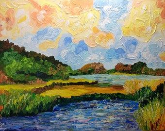 Landscape Painting, Impressionist Original Art, Palette Knife Acrylic Painting, Textured Wall Art Canvas, Large Impasto Art by Olga Tkachyk