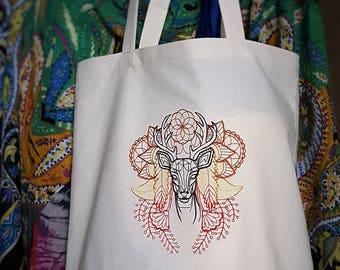 Tote bag- Machine embroidered