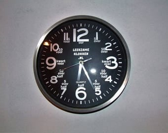 educational clock black 30 cm