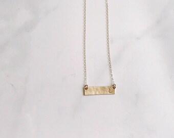 Initial Gold bar necklace - hammered bar- letter necklace - monogrammed bar necklace