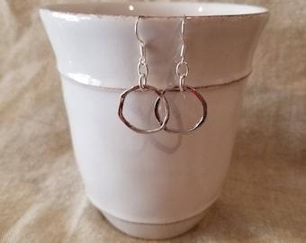 Earrings, silver earrings, circle earrings, dangle earrings, round earrings