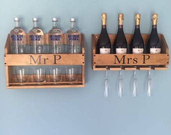 Personalised, Drink Rack, Wine Rack, Whisky Rack, Gin Rack, Vodka Rack, Drinks Cabinet, wine gift, Prosecco Rack, Champagne Rack, Drink gift