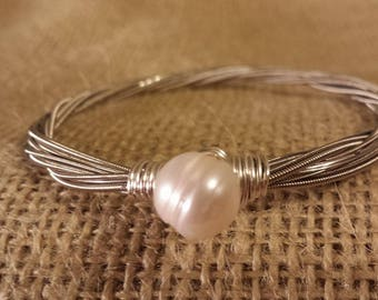 Guitar String Bangle with Fresh Water Pearl