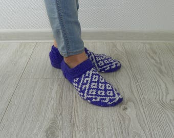 Knitted slippers Home slippers Patterned slippers Purple slippers Knit socks-slippers Knit socks Women and girl slippers Gift Leg warmers