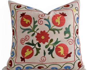 SALE 30% Hand Embroidery Silk Suzani Pillow, Multicolor Suzani Pillow Suzani Pillow Cover, Decorative Pillow, Throw Pillow, Accent Pillow