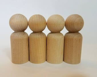 Four Wooden Peg Dolls,  Man Peg Dolls