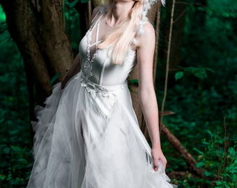 White wedding fairy dress, bodysuit with skirt tulle dress, fairy tale dress, wedding dress 2017, leotard with lace, bodice white, A line
