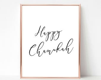 Happy Chanukah, Holiday Printable, Holiday Decor, Chanukah Decor, Hanukkah Decorations, Hanukkah Decor, Happy Hanukkah, Holiday Prints