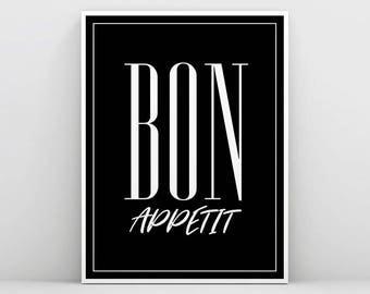 Black and white Bon Appetit Print, Bon Appétit Wall Art, Kitchecn Wall Decor, Restaurant Poster, Restaurant Print, Food Print, Typography