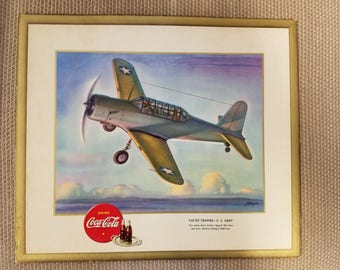 Vintage WW II Coca Cola 1943 Vultee Trainer Heaslip Signed Litho Print