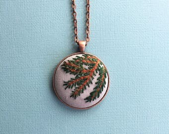 Pine Forest - hand embroidered pendant necklace
