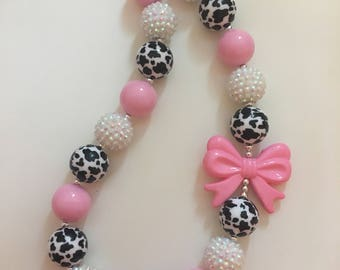 Cow Print bubblegum necklace