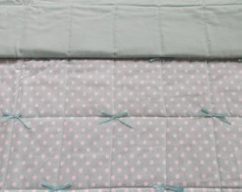 Mint polka dot childs quilt, baby quilt, toddler quilt, crib quilt, handmade quilt, nursery