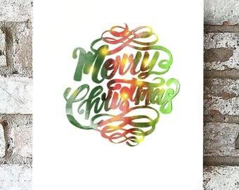 Merry Christmas card- digital print-Christmas card-watercolour-calligraphy