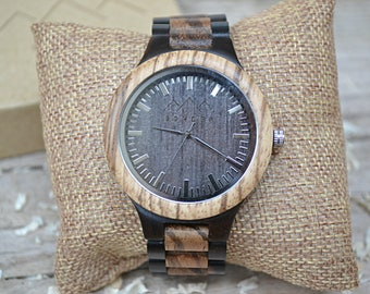 Wood Watches by S O N D E R. Mens Wooden watch, Bespoken Wooden Watches for men. Mahogany and Sandalwood Gents Watch (Pre-order 6 Weeks)