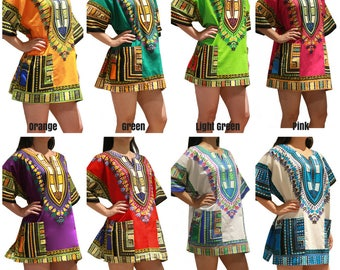 Dashiki Shirts Fast Shipping from NYC - 33 Colors - High Quality 100% Cotton African Dashiki Shirt Dress for Men or Women One & Plus Size
