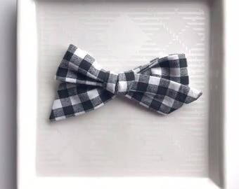 Black and White Gingham Hand Tied Bow - Baby Girl Nylon Headband and Bows - Girls Fabric Bow - Fall Bow - Buffalo Check Bow
