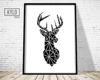 Geometric Deer Print, Woodland Animals, Scandinavian Print, Deer Head Print, Geometric Print, Wall Art, Deer Print, Deer Poster, Gift