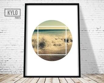 Wall Art Print,  Geometry Art, Beach print, Circle Print Art, Abstract print, Modern Print, Geometry Print, Beach Photography, Nature Print