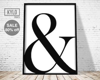 Ampersand Print, Typography Print, Digital Print, Office Decor, Wall Art, Printable Art, Scandinavian Art, Minimalist Print, Abstract Poster