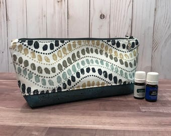 Perfect Essential Oil Pouch / Navy Teal Canvas EO bag