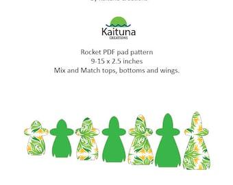 Rocket 9-15 x 2.5 inches -  PDF Pad pattern sets - Kaituna Creations Convertibles