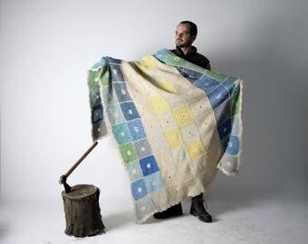 Blanket, Wool Blanket, Handmade afghan, Knit blanket, Big Vintage Blanket, Queen size blanket, Colorful blanket, home decor, Made in Italy