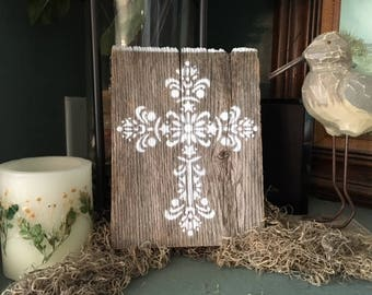 Rustic Reclaimed Wood Plank with a Hand Painted Cross