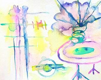 Watercolour Alien Print