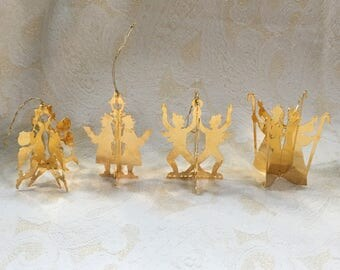 Set of 4 Vintage 1980 Danbury Mint 23K Gold-Electroplated Ornaments - Signed