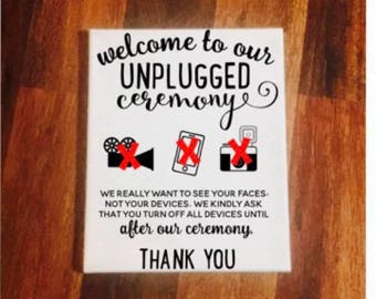 Unplugged Wedding Sign, Unplugged Ceremony Sign, Unplugged wedding canvas, Unplugged wedding, Wedding signs, Wedding decor,