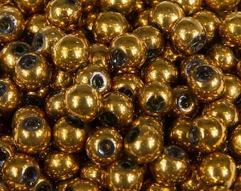 22201 - 100 beads 4mm glass round Golden