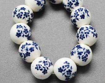 10 pearls porcelain pattern blue flowers