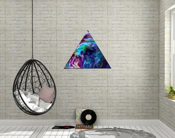 "Large 24"", colorful triangle piece with streaks of golden shimmer and a glossy resin finish--""Aloha"""""