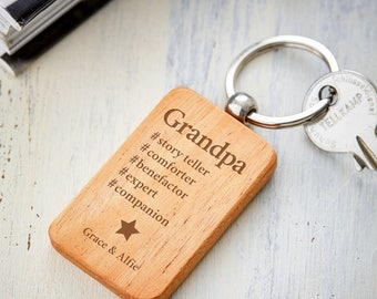 Keyring pendant with Engraving – Hashtag Grandpa – Standard and Personalised with Names