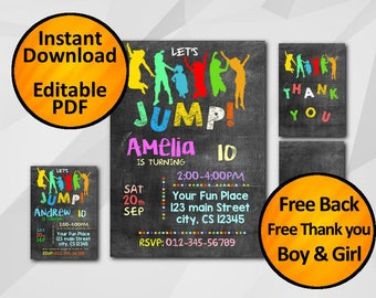 Instant Download Editable Jump Birthday Invitation Chalkboard -free back - free thank you - diy invitation C010-1