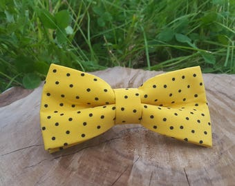 Women Bow Tie Women Yellow bow Polka dots Bow tie Unique Bow Tie Handmade BowTie Woman bowty Women brooch Yellow bow tie Women BowTie