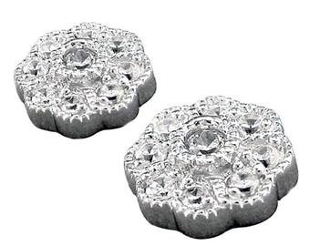Lovely 925 Silver Clear Cubic Zirconia Flower Studs RSBC229087