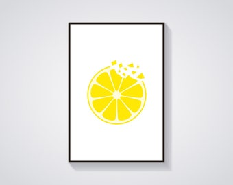 "Printable Art ""Lemon Crunch"" Minimalistic Fruit Art Print"