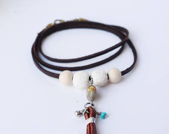 """Native Inspired Leather Wrap Bracelet/Necklace with White Diffusing Lava Beads Fits 6""""-7"""" Wrists"""
