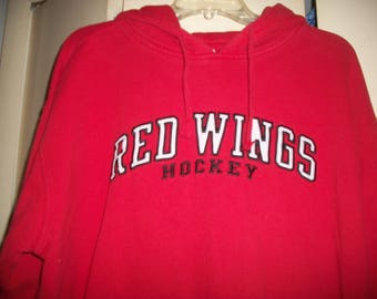 Vintage Detroit Red Wings Red Cotton Blend Hoodie Size L
