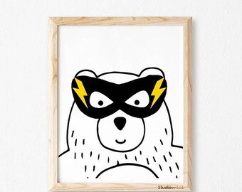superhero print, Bear superhero, printable art, wall art decor, digital print, nursery wall sign, monochromatic art, boys art,Kids decor
