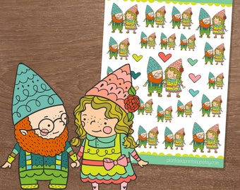 Gnomantic, Gnome Stickers, Planner Stickers, Date Night, Romance Stickers, Hand Drawn, Doodle Stickers, Gnaomi the Gnome, Holding Hands