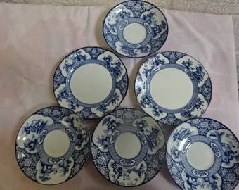 Booths Silicon China/Ming/4 saucers-Dishes/2 Side-Tea Plates/Vintage/1930s