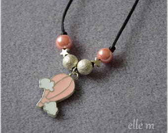 Cloud and balloon, black, pink and silver beads pendant necklace