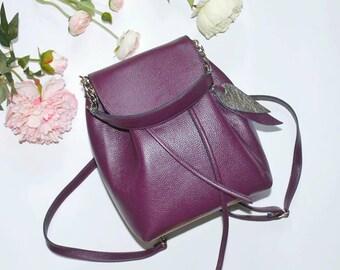EXTRAORDINARY HANDBAG, purple leather handbag, designer bag, leather designer backpack, unique bag women, unique backpack for her