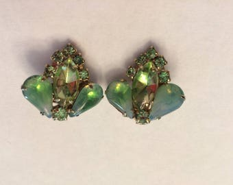 Vintage Juliana Opalescent and Green Rhinestones Clip on Earrings - Free Shipping