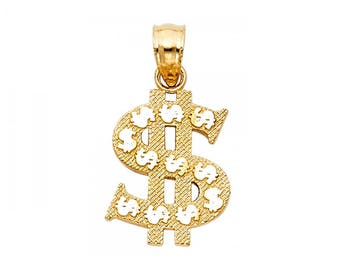 14K Solid Yellow Gold Dollar Sign Pendant - Money Polished Necklace Charm